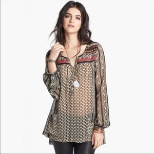 Free People Feather In The Wind Beaded Boho Tunic
